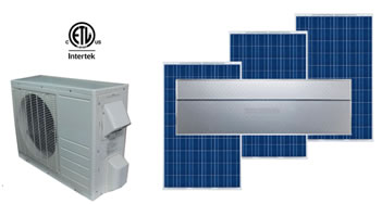 image of soalr air conditioner with solar panels