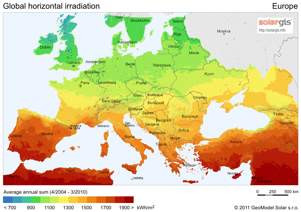 European Saily Solar Insolation Map