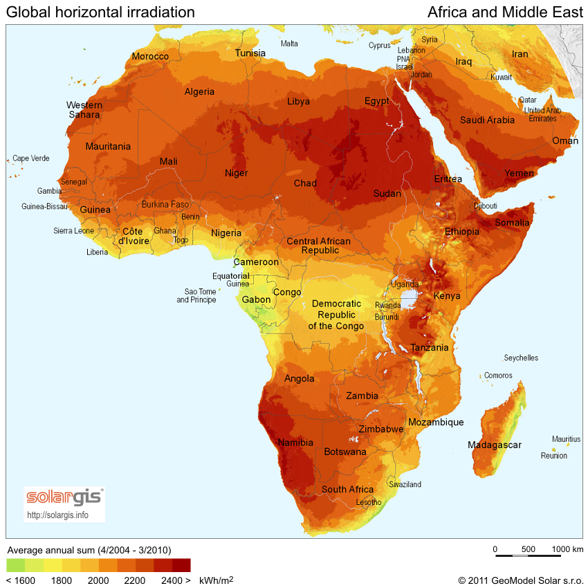 Average daily solar insolation map africa midle east solar insolation daily solar hours map of africa and the middle east gumiabroncs Images