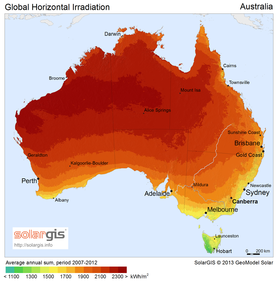 Average Daily Solar Sun Hour Insolation Map Chart For Australia - Us map annual hours sunshine