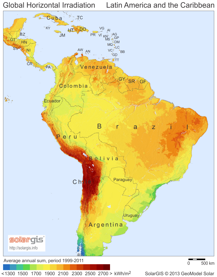 Latin America South America Map.Average Daily Solar Insolation Sun Hours Map Caribbean Central