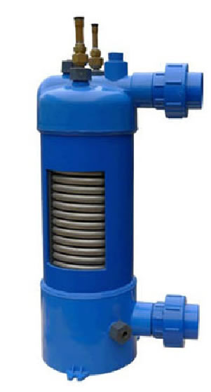 Pool heat exchanger, titanium heat echanger designed to withstand chlorine and salt water.