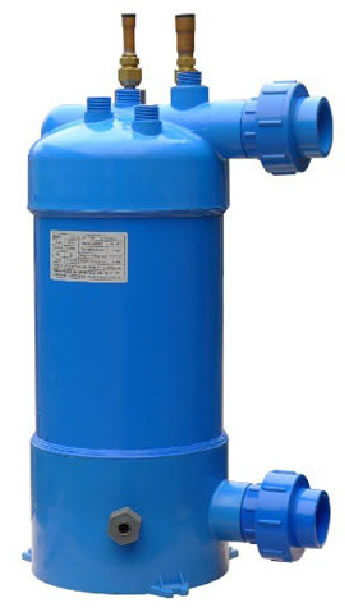 Salt water or swimming pool water heat exchanger for heat pum or air conditioner