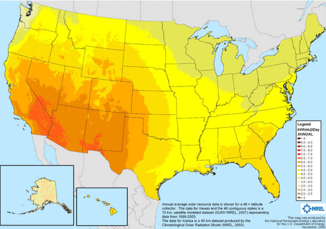 Sun hours map showing average daily solar insolation in the US